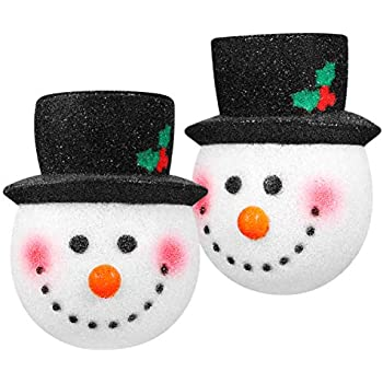 Amosfun 2PCS Christmas Porch Light Covers Christmas Outdoor Decoration Supply Snowman Light Covers Great for Standard Porch Light Decoration