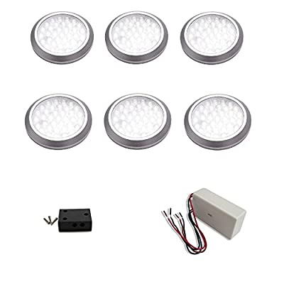 macLEDs ultra low profile POP series 6 piece puck light kit with dimmable hard wired transformer