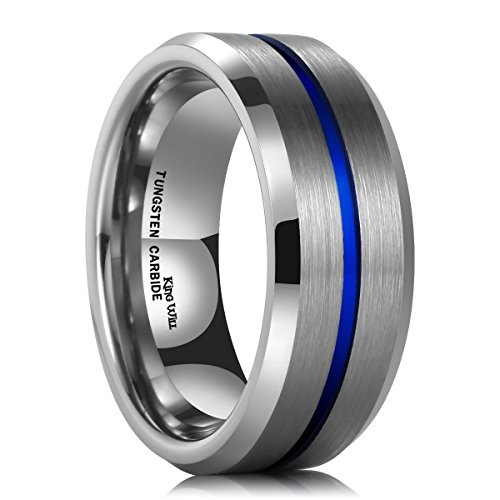 King Will 8mm Thin Blue Groove Matte Brushed Tungsten Carbide Ring Wedding Band High Polish Comfort Fit 8.5 (14 Band Wedding Mm)