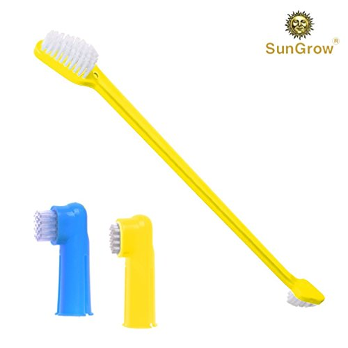 3 Pcs Dog Toothbrush Set -- Dual-headed brush for better dental care - 2 Bonus Finger Brushes included - Removes plaque, freshens dog's breath - Vet & Pet Groomer Recommended - Use with Dog Toothpaste