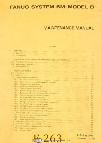 Fanuc System 6M Model B, CNC Control, Maintenance -