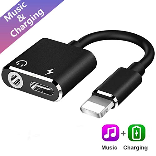 3.5mm 2 in 1 Audio Adapter Charger for iPhone XR/XS MAX/X / 7 Plus / 8 Plus/iPad/iPod Jack Converter Car Charge Accessories Cable & Audio Connector Earphone Splitter Adaptor (Black) (Converter Ipod Car For)