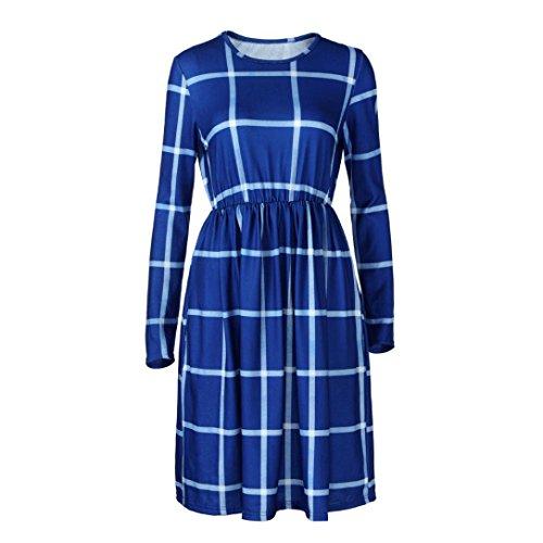 Kleid damen Kolylong® Frauen Elegant Karierte Rundhals Kleid Vintage Langarm Kleider Knielang Midikleid Festlich Skaterkleid Lässig Kleid mit taschen Bodycon Party Kleid Abendkleid Bluse Blau