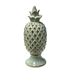 Sagebrook Home 11247 Decorative Ceramic Pineapple Finial DCor, Seafoam Ceramic, 4.5 x 4.5 x 11.5 Inches