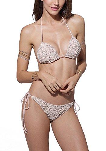 LookbookStore bañadores de mujer Halter triangulares Crochet Bikini, diseño de flores