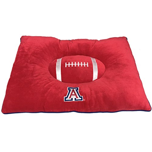NCAA PET Bed - Arizona Wildcats Soft & Cozy Plush Pillow Bed. - Football Dog Bed. Cuddle, Warm Collegiate Mattress Bed for Cats & Dogs
