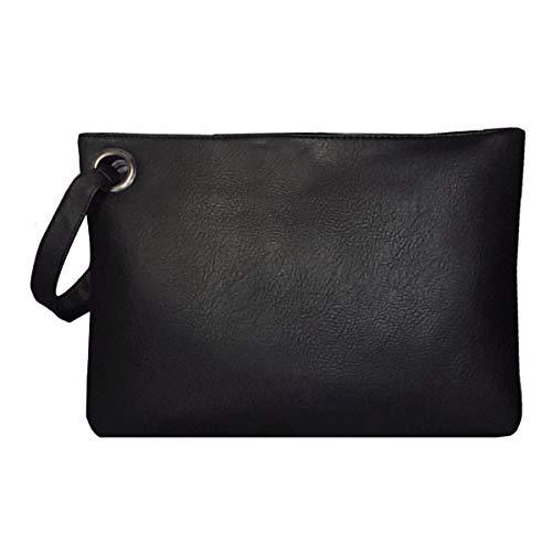 Dolce Na Womens Oversized Clutch Bag Purse Pu Leather Evening Wristlet Handbag, Black ()