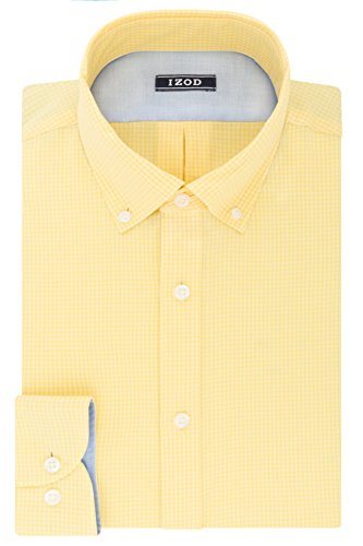IZOD Men's Dress Shirts Slim Fit Stretch Gingham, Cornsilk, 15.5