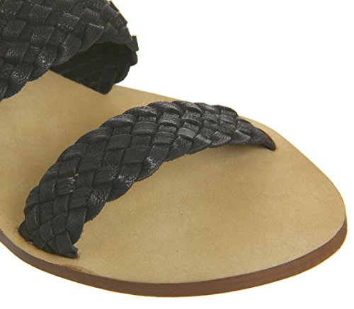 Office Springfield Weave Three Strap Sandals Black Leather BGWW3