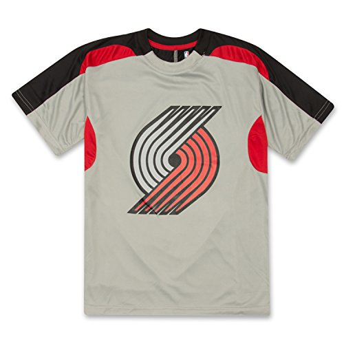 NBA Boys Athletic Sports Crewneck Two Tone T-Shirt With Team Name and Logo Portland Trail Blazers Grey Black Red Large