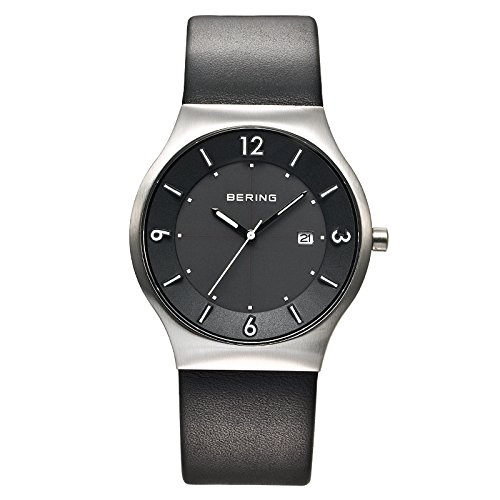 BERING Time 14440-402 Men's Solar Collection Watch with Leather Band and scratch resistant sapphire crystal. Designed in Denmark.