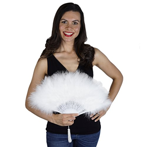 White Feather Flapper Hand Fan - Marabou Folding Fan Dance Wedding Home -