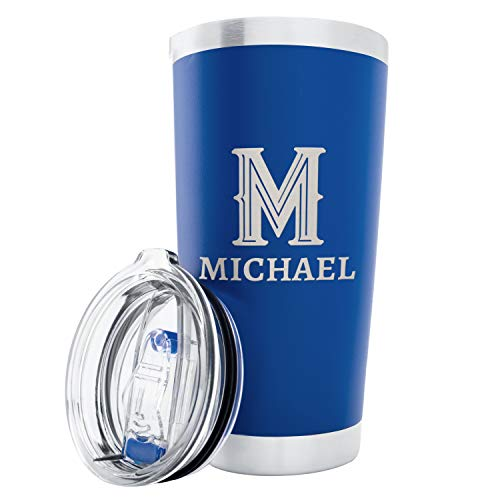 Personalized Double Wall Tumbler Drinking Thermos Insulated Travel Mug | 11 Different Color Options 20 oz Tumblers - Gifts For Him Her Customizable Name and Initial (Heart Mug Travel)