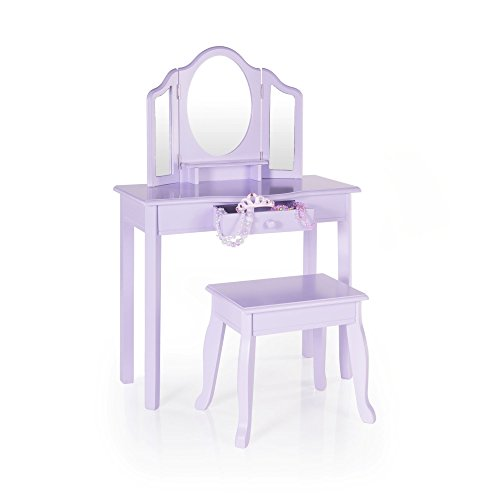 Guidecraft Vanity and Stool - Lavender: Children's Table and Chair Set with 3 Mirrors and Make-Up Drawer Storage - Kids' Room Furniture