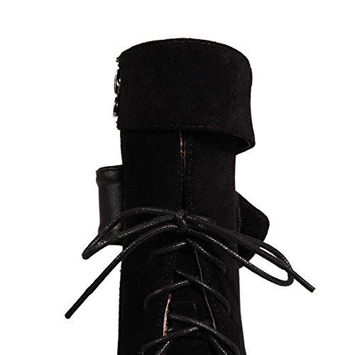 AllhqFashion Mujeres Sólido Tacón Alto Puntera Cerrada Gamuza(Imitado) Cremallera Botas Negro