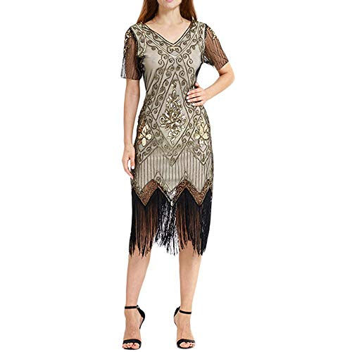 High end Women Vintage 1920s Bead Fringe Sequin Lace Party Flapper E Dress Great Gatsby Vestidos 2019,P,XL,]()