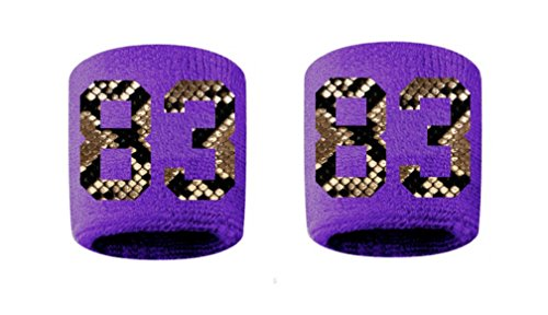 #83 Embroidered/Stitched Sweatband Wristband PURPLE Sweat Band w/ PYTHON SNAKE PRINT Number (2 (Python Print Number)