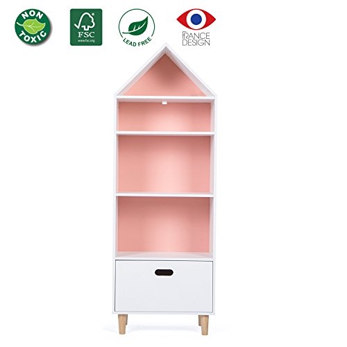LUCKUP Kids Furniture Children Wood Tall Shelf Bookcase with Drawer, Two Color Choice(Sky Blue or Baby Pink) (55.9Hx20Lx12W) …