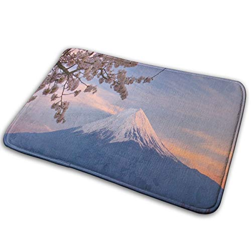 Doormat Japan Mount Fuji Cherry Blossoms Personalized Non Slip Water Absorption Entrance Mats for -
