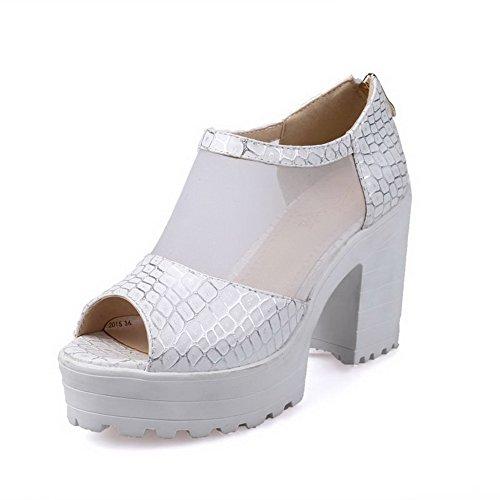 AmoonyFashion Womens Open Toe High Heels Zipper Assorted Color Sandals White 0Y6Ah81Dk