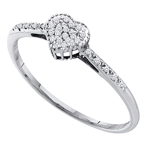 10kt White Gold Womens Round Diamond Slender Dainty Heart Ring 1/12 Cttw