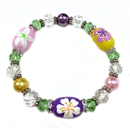 Tropical Flower Rhinestone - Linpeng Fiona Hand Painted Tropical Flower Glass Beads Bracelet