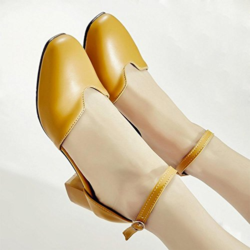 sandalias de verano retro con gruesa con cabeza redonda palabra zapatos de hebilla sandalias de las mujeres Baotou Yellow