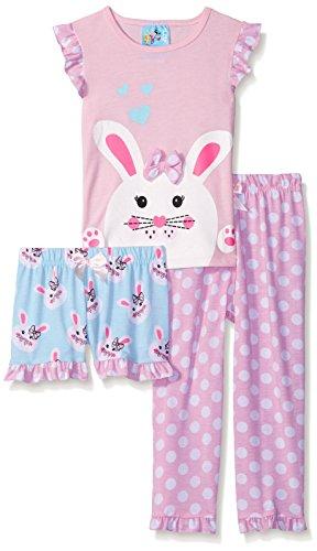 Bunz Kidz Baby Bunny Hop 3 Piece Spring Sleepwear Set, Multi, 24