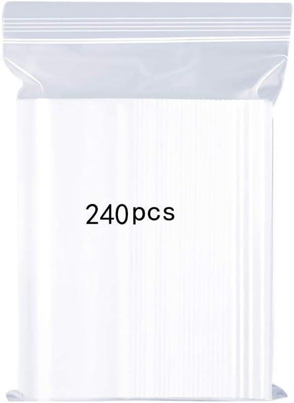 Bolsas de plástico Transparentes Que se Pueden Volver a sellar, Bolsa de Cierre de Cremallera Reutilizable Fuerte, Engrosamiento y Duradero, Prensa para Cerrar, 5x7cm 240PCS