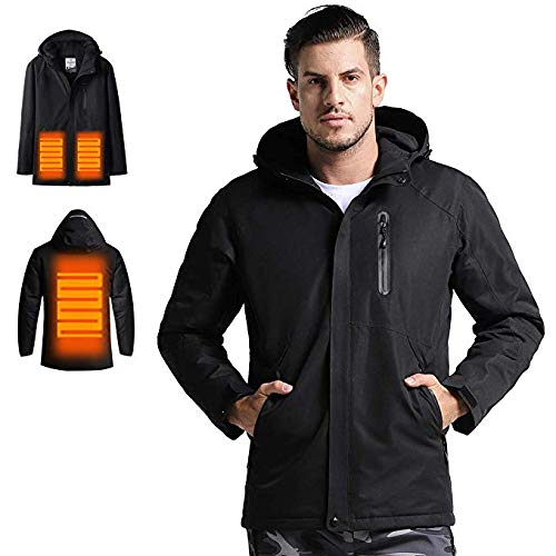 カップルジャケット屋外スポーツランニングスキーのためのフード防水耐風暖かいジャケット断熱付き電気加熱ジャケット 黒(Men) XL
