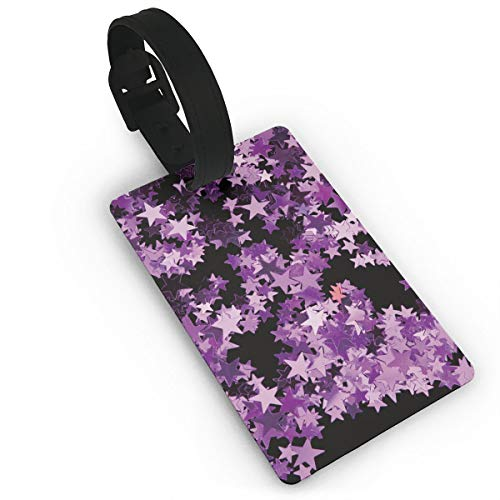 Cruise Luggage Tag With Adjustable Wrist Strap - Purple Star Suitcase Labels For Women Men, Privacy Bag Tags Baggage Name Tags Suitcase Tag Lables