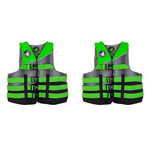 Nylon Glove Vest Body - Body Glove Method Adult 2XL/3XL Swimming Water Life Preserver Jacket Vest, Green (2 Pack)