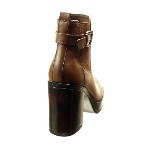 Angkorly - Zapatillas de Moda Botines chelsea boots zapatillas de plataforma mujer Hebilla Talón Tacón ancho alto 8.5 CM - Marrón