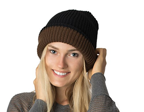 (AN- Warm Unisex Chunky Double Layer Reversible Ribbed Fisherman's Slouchy Beanie Hat Skull Cap Black-Brown One Size)