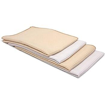 "Cloth Genius Microfiber Kitchen Dish & Hand Towel Set - 4 Pack - 16""x24"" (Beige & White)"