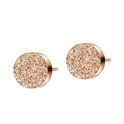 Womens 18K Rose Gold Plated Scrub Tiny Dot Stud Earrings with Gift Box