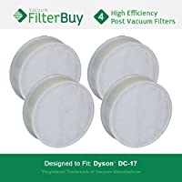 4 - FilterBuy Dyson DC17 (DC-17) Post Motor Compatible HEPA Filters, Part # 911235-01. Designed by FilterBuy to fit Dyson DC17 Upright Vacuum Cleaners.