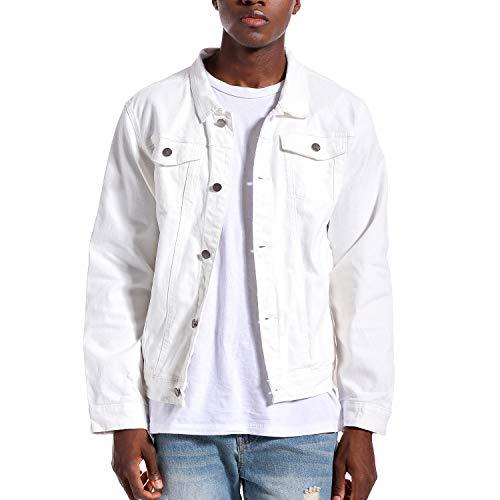 LAMKUKU Mens Denim Jacket Slim Trucker Jean Jacket for Men