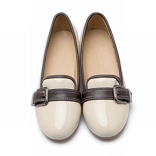 Carolbar Femme Boucle En Cuir Verni Mode Confort Talon Bas Mocassins Chaussures Beige Abricot
