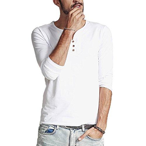 XShing Men's Long Sleeves Cotton Henley T Shirts Casual Thermal Cotton Shirt