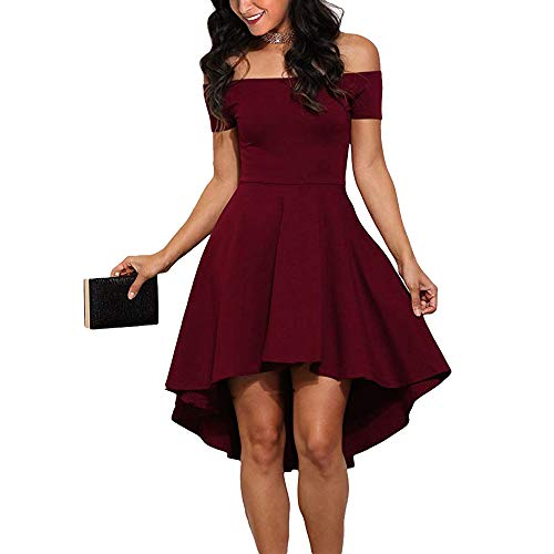 CUQY Maroon Formal Dress for Women High Low Hem Cocktail Party Skater Dress(FBA) (Wine2, L)