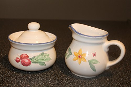Pfaltzgraff Summer Garden Sugar Bowl with Lid and Creamer