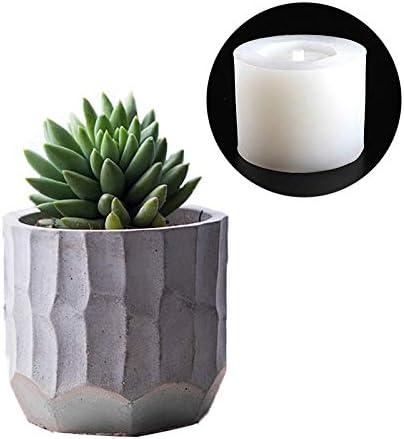 Barrel Silicone Flower Pot Mold Cement Flowerpot Molds DIY Succulent Plants Concrete Planter Vase Molds Bonsai Planter Mould Handmade Flowerpot Cement Craft Clay Making Mold Candle Holders Mold