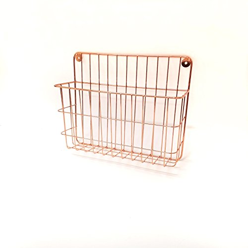 Single Tier Wall File Holder – Copper Plated Durable Metal Rack with Spacious Slots for Easy Organization, Mounts on Wall and Door for Office, Home, and Work – by ()