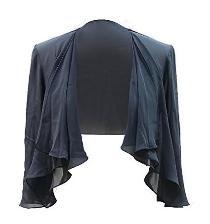 Chic Queen Women's Sheer Chiffon Bolero Shrug Jacket Cardigan Long Sleeve