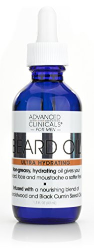 Advanced Clinicals Men's Beard Oil with sandalwood and black cumin seed oils for dry, prickly beards and moustaches. Large 1.8oz - Men Cumin