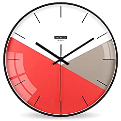EMIROOM Modern Colorful Wall Clock, 12 inch Silent Non-Ticking Quartz Metal Wall Clock, Battery Operated, Simple Style Decorative for Bedroom, Living Room, Kitchen, School and Office (Red)