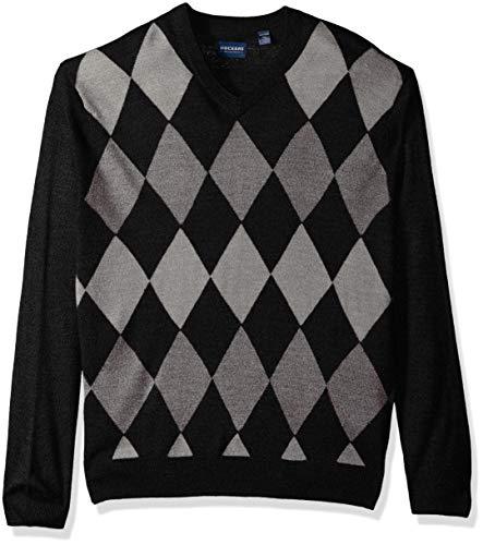 Dockers Men's Soft Acrylic V-Neck Long Sleeve Sweater, Black, X-Large