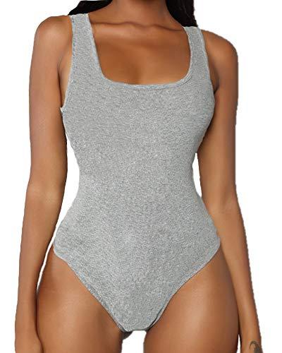 BelleLovin Women's Scroop Neck Bodysuits Sleeveless Tank Top Jumpsuits- Grey, Large ()
