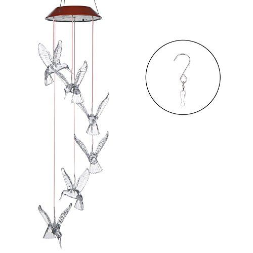 Cheap  AGPtek LED Color Changing Wind Chimes Hummingbird Solar Lights Mobiles Windlights for..